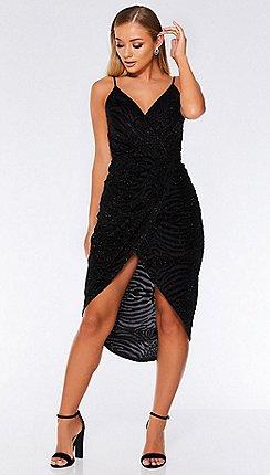 quiz black velvet glitter wrap midi dress