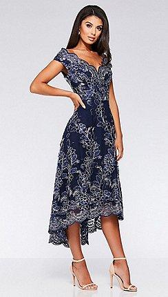Quiz - Navy Lace Dip Hem Dress e1ef33970d1c
