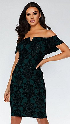 quiz bottle green flock bardot dress - Christmas Party Dresses