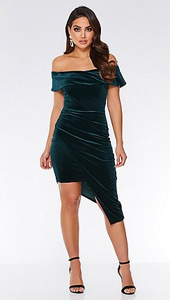 quiz bottle green velvet wrap asymmetrical bodycon dress - Christmas Party Dresses