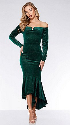 Quiz - Bottle green velvet glitter dip hem maxi dress e6b5e7eb6dd8