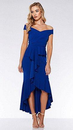 7953a92ca3f3 Quiz - Royal blue crepe bardot frill dip hem maxi dress