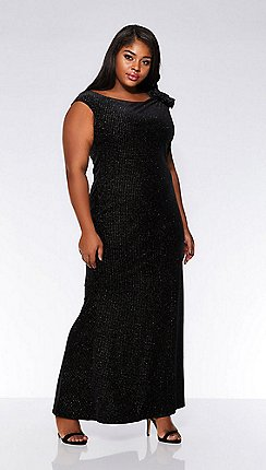 Quiz Curve Black Glitter Velvet Side Bow Maxi Dress