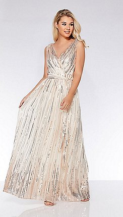 fa433a8b7f Quiz - Champagne woven sequin flare skirt maxi dress