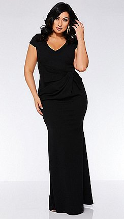 Quiz - Curve Black Cap Sleeve Bow Maxi Dress