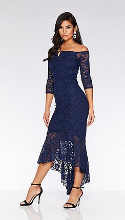 9806511488 Quiz - Navy glitter lace v bar dip hem maxi dress
