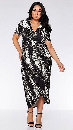 Quiz - Curve black and brown animal print wrap dress 9e777ad69