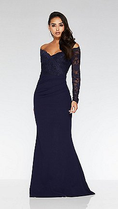 Quiz - Navy Bardot Lace Fishtail Maxi Dress e49f8e188bed