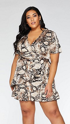 6b55fdd206 Quiz - Curve black and brown snake print wrap dress