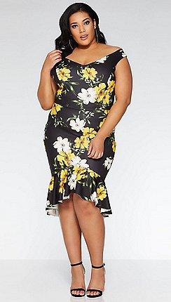 Quiz - Curve black and yellow bardot fishtail midi dress d278a5385