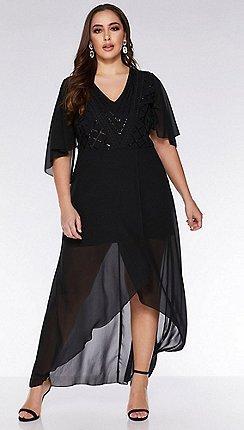 Quiz - Curve black chiffon sequin midi dress 53659669b