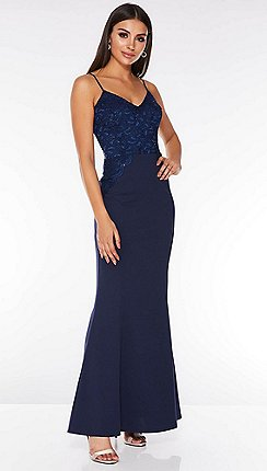 Quiz - Navy Sequin Lace Maxi Dress d74c48a9e282