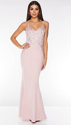 d3570f90a7 Quiz - Blush Pink Sequin Lace Maxi Dress