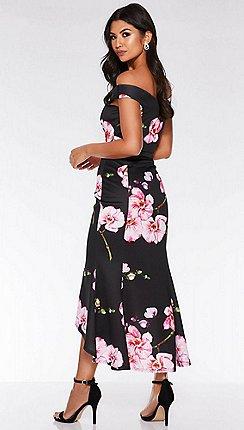 Quiz - Black and pink bardot floral print fishtail midi f30b10c975