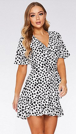 Quiz - Black and White Heart Print Wrap Dress c429090c4