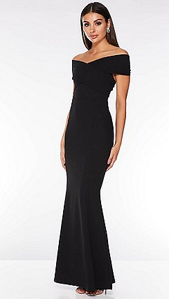 Quiz - Black Bardot Wrap Front Maxi Dress