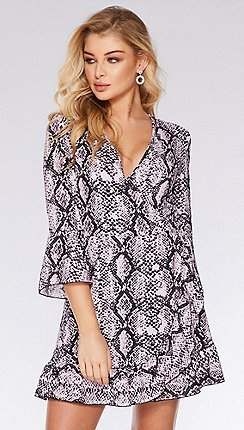 30e57b24419 Quiz - Pink And Black Snake Print Wrap Dress