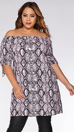 949f34990d Quiz - Curve Pink and Black Snake Print Tunic Dress