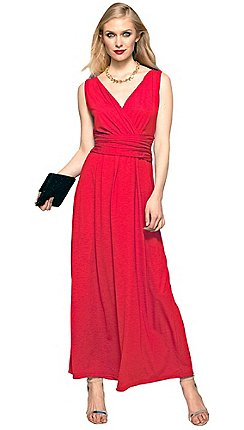 bfa6a532bf30 HotSquash - Red V Neck Maxi Dress in CoolFresh Fabric