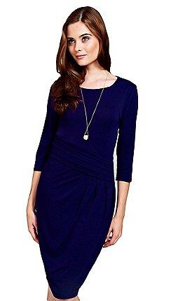 4b0508a0e67 HotSquash - Long sleeved midnight blue knee length dress