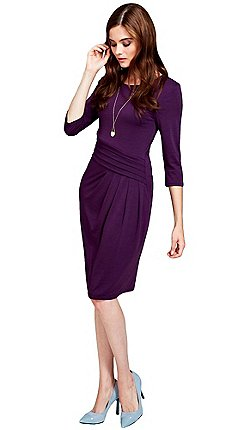 Hotsquash Long Sleeved Damson Knee Length Dress