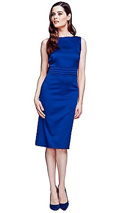 Hotsquash Royal Blue Silky Dress With Tie Belt And Pleat Detail