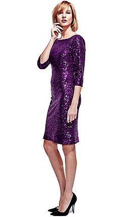 Hotsquash Purple Sequin Dress In Clever Thermal Fabric