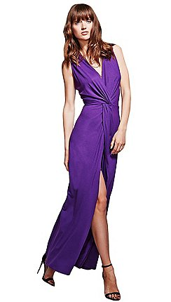 Hotsquash Long Elegant Purple Maxi Dress With Knot Detail
