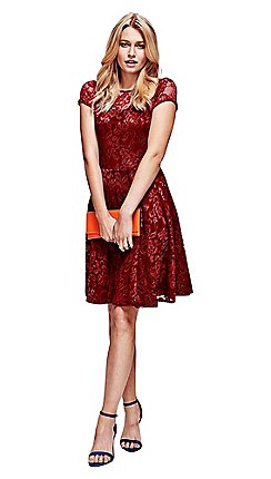 8699bfba4a5 HotSquash - Red lace fit n flare dress in clever fabric
