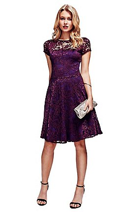 c83929ff249 HotSquash - Purple Lace Fit n Flare Dress with Thermal Lining