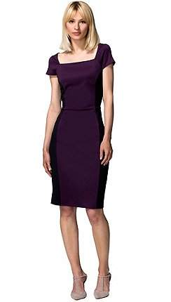 5fff59e381 HotSquash Damson   black square neck hourglass ponte dress