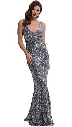 HotSquash - Silver sequin v-neck sleeveless maxi dress 11be9e26dee5