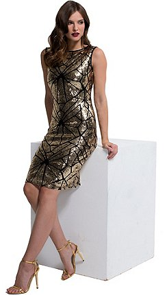 Hotsquash Gold Sequin Sleeveless Kneelength Dress