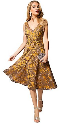 Hotsquash Yellow And Brown Fl Lace V Neck Dress