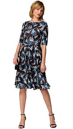 f0a66389232 HotSquash - Exotic grasses print short sleevesd skater dress