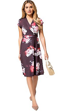 c5d2804d6b0 HotSquash - Lily print cap sleeves jersey wrap dress