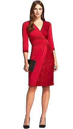 Hotsquash Red V Neck Lace Detail Faux Wrap Dress