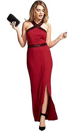 14c8fd010b2 HotSquash - Red sequined halterneck maxi evening gown