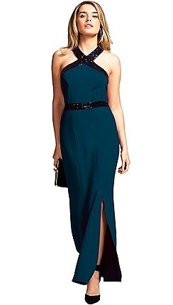 33bccf5650b HotSquash - Teal sequined halterneck maxi evening gown