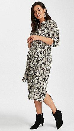 Evans - Grey snake print midi shirt dress e6e5d4330d6