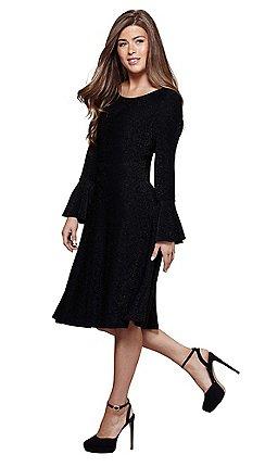 1abb9591f2 Mela London - Black shimmer  Mehreen  bell sleeve skater dress