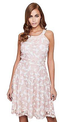 72a946b563cf Mela London - Pink lace  Milena  sleevesless skater dress