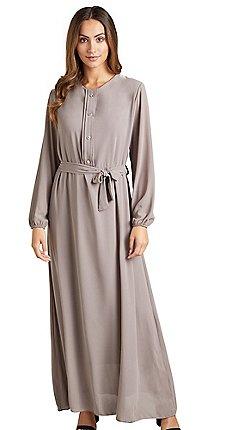 4f150ed854206 Mela London - Beige pleated 'Denisa' long sleeve maxi dress