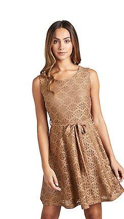 34a61158c3 Mela London - Brown floral lace  Vannetta  skater dress