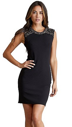 dcef0efef8 Mela London - Black plain beaded  Charla  bodycon dress