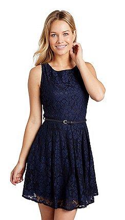 a60e327590 Mela London - Navy floral lace  Vanezza  sleeveless skater dress
