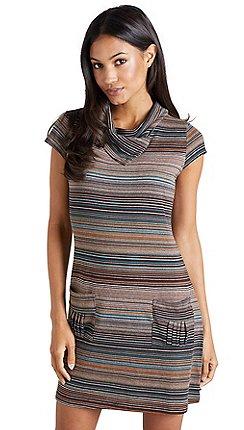 30cc8a8fac77 Mela London - Brown striped 'Deaira' cowl neck swing dress