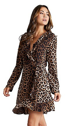 779a504f6af4 Mela London - Brown animal print 'cenith' long sleeves wrap dress