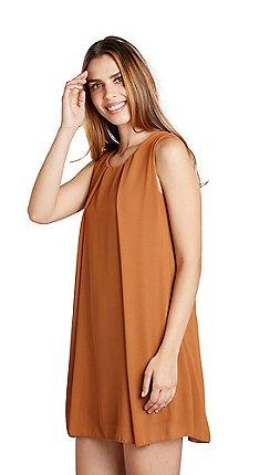 c1d1f891d257 Mela London - Brown plain sheer overlay 'Cedrea' tunic dress