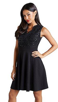 5de6d8ebd9 Mela London - Black lace embellished  Ellary  skater dress
